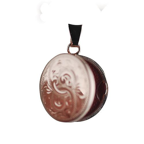9ct Rose Gold 20mm hand engraved flat round Locket