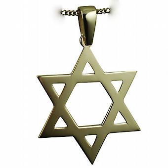 9ct Gold 37x37mm plain Star of David Pendant with bail on a curb Chain 16 inches Only Suitable for Children