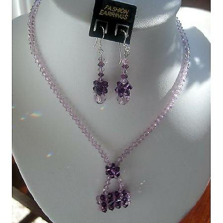 Light Amethyst Swarovski Crystal Purse Pendant Necklace Custom Jewelry