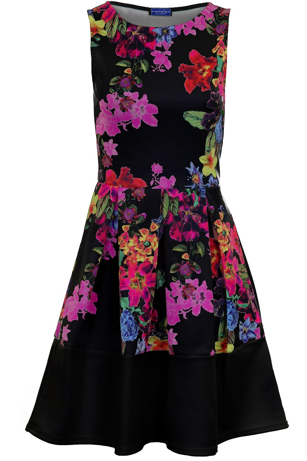 Ladies Sleeveless Panel Block Contrast Hem Floral Print Pleated Skater Dress