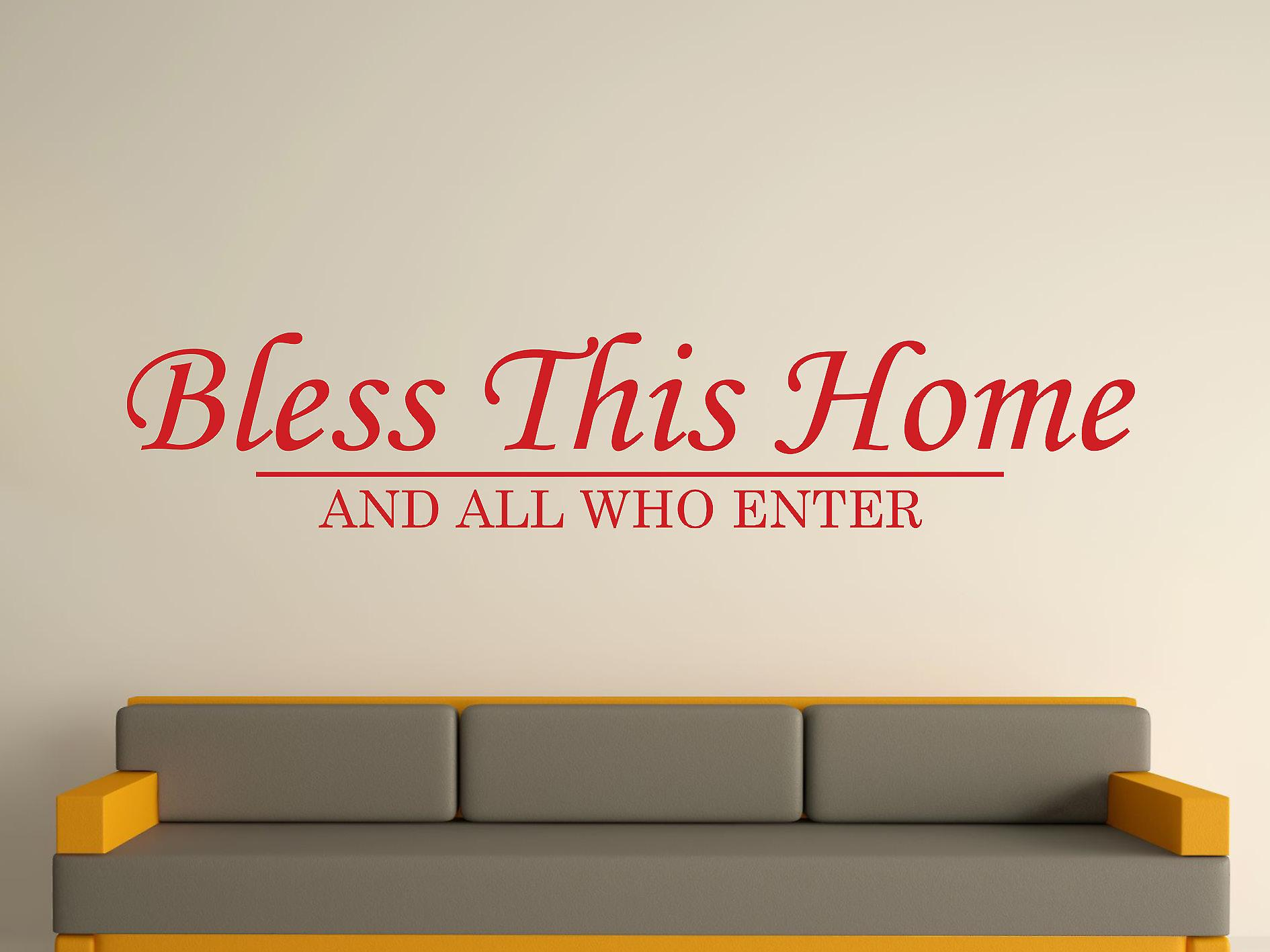 Bless This Home Wall Art Sticker - Deep Red