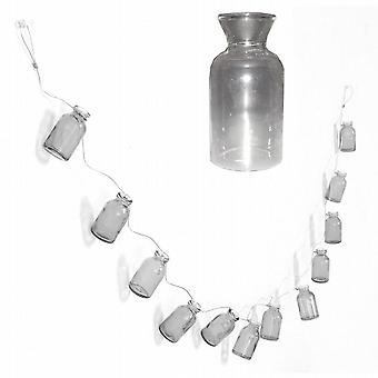 3 slingers 140Cm met 12 opknoping Mini helderglazen flessen (RR0126)