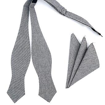 Grey & black self tied butterfly bow tie & pocket square