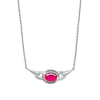 Ah! Jewellery Sterling Silver Pendant Necklace With An Oval Ruby Crystal From Swarovski
