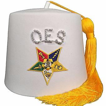 Order of the Eastern Star OES Rhinestone White Fez