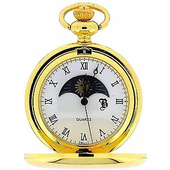 Boxx goud Toon zon en maan fase Dial Pocket Watch 12 Inch ketting BOXX192