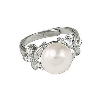 Eternal Collection Bella Perlina CZ And Freshwater Pearl Sterling Silver Adjustable Ring