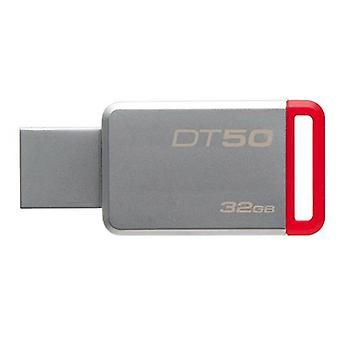 Kingston datatraveler 50 32gb usb 3.0 (3.1 gen 1) type-a red silver usb flash drive