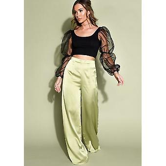Faux Satin Wide Leg Trousers Lime Green
