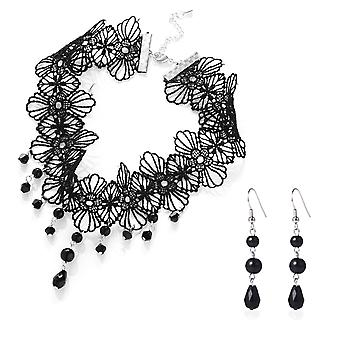 Ensemble collier cristal noir