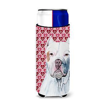 Pit Bull Hearts Love and Valentine's Day Portrait Ultra Beverage Insulators for