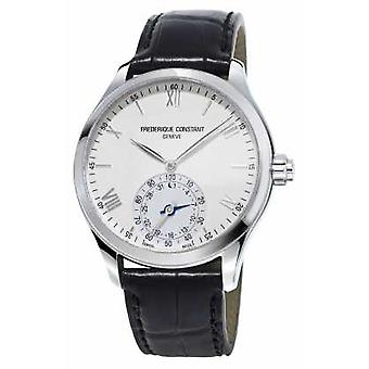 Frederique Constant Horological Smartwatch White Dial Black Leather Strap FC-285S5B6 Watch