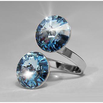 Ring med 2 Aquamarine Swarovski kristaller RMB 2.2