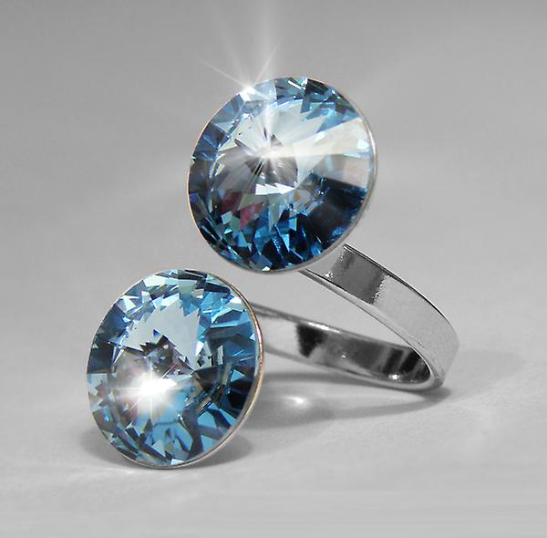 Ring with 2 Aquamarine Swarovski crystals RMB 2.2
