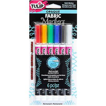 Tulip Opaque Fabric Markers 6/Pkg-Primary OFM33586