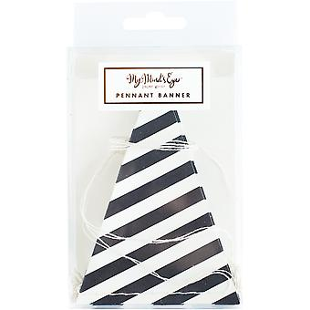 Black & White Mini Banner 8'-32 Striped Pennants BWP203