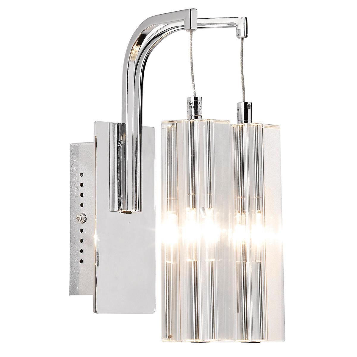 Dar GAL0950 Galileo Double Insulated Twin Halogen Crystal Wall Light