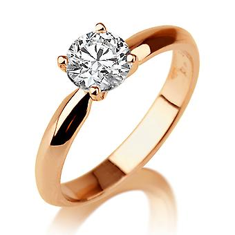 Beautiful 1.00ct White Sapphire Ring Rose Gold 14K