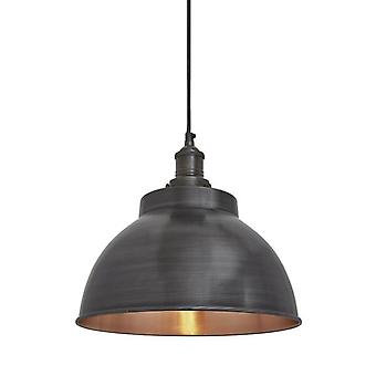 Astoria Industrial Pewter & Copper Dome Pendant Light 13