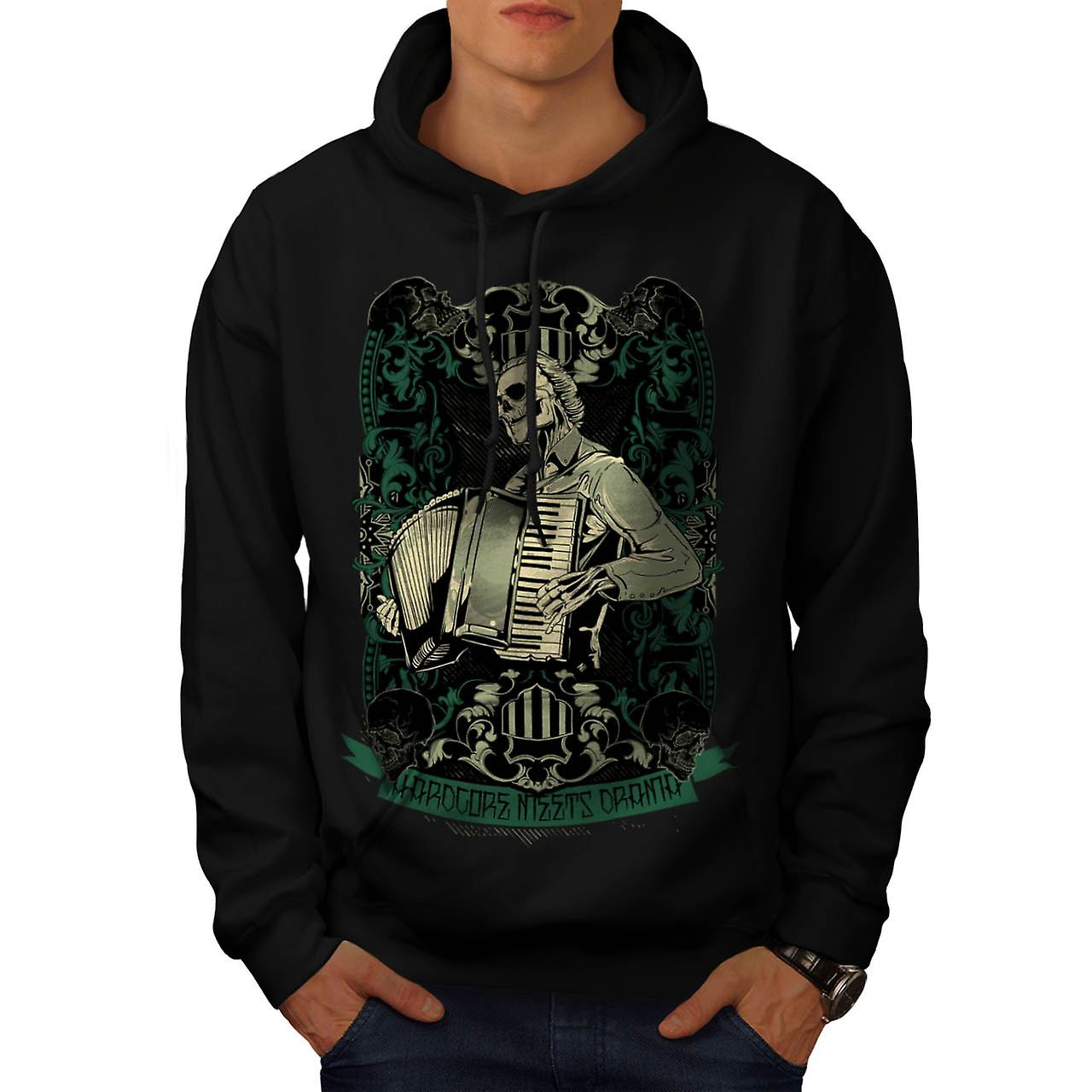Hardcore Night Piano Men Black Hoodie | Wellcoda