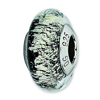 Sterling Silver Reflections Black Silver Italian Murano Glass Bead Charm