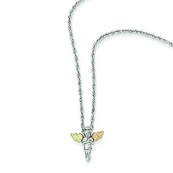Sterling Silver and 12k Sm Angel Necklace - 18 Inch