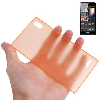 Protective cover case ultra thin 0.3 mm for mobile Huawei Ascend P6 Orange transparent