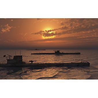 A wolfpack of German U-Boat submarines travelling across a calm Atlantic Ocean at sunset Poster Print