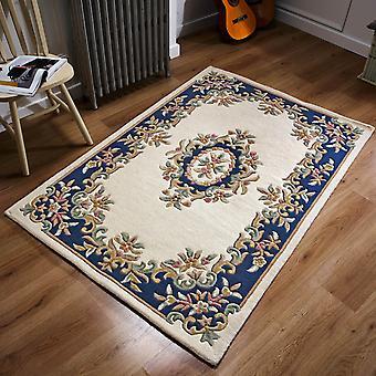 Royal Aubusson wełniane dywany w krem niebieski