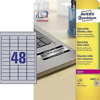 Avery-Zweckform L6009-20 Labels (A4) 45.7 x 21.2 mm Polyester film Silver 960 pc(s) Permanent Nameplates Laser, Copier