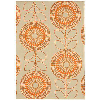 Onix Orange Modern Floral Cotton Rug