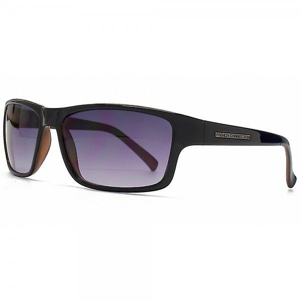 French Connection Rectangle Plastic Sunglasses In Black On Brown