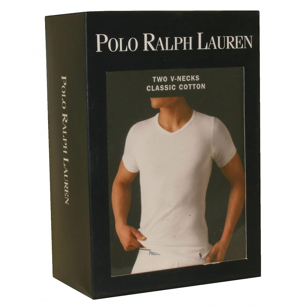 Polo Ralph Lauren 2-Pack klassiske bomull v-hals t-skjorter, hvite
