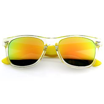 Bright Two-Tone Transluscent Acetate Horn Rimmed Sunglasses w/ Color Mirror Lens