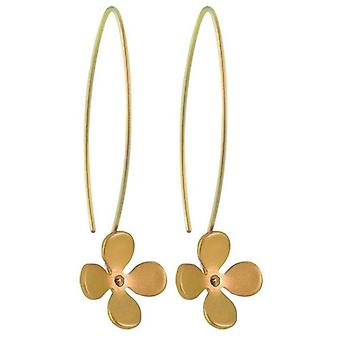 Ti2 Titanium 13mm Four Petal Flower Drop Earrings - Tan Beige