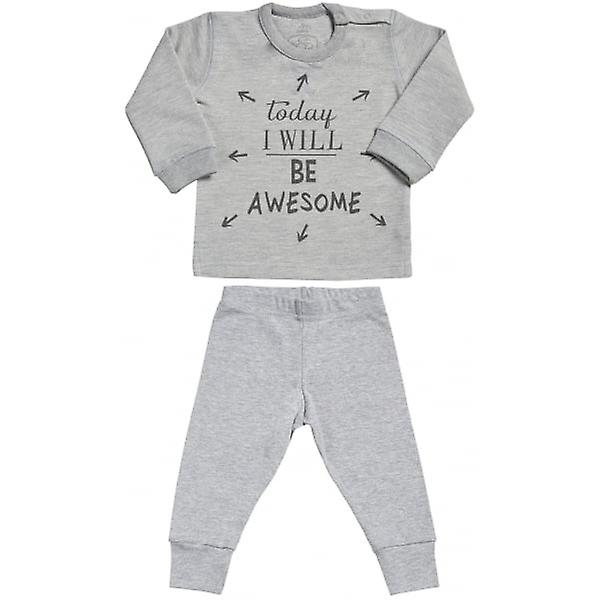 Spoilt Rotten Today I Will Be Awesome Sweatshirt & Jersey Trousers Baby Outfit Set