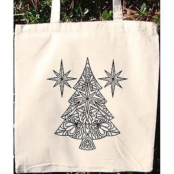 Stamped Canvas Tote To Color-Christmas Tree 98117T