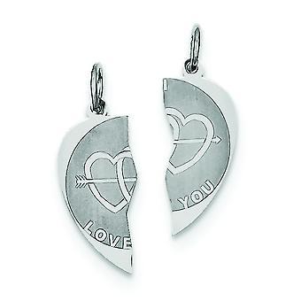 Sterling zilveren solide twee stuk Engravable gepolijst terug 2-delige I Love u schijf charme -.9 gram