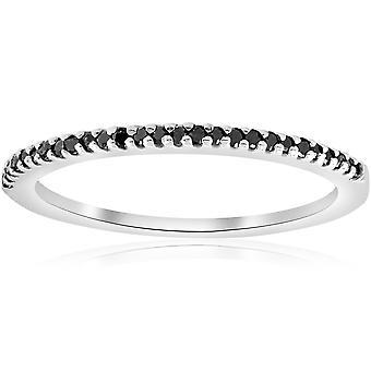 1/6 ct ブラック ダイヤモンド スタッカブル結婚指輪 14 k ホワイトゴールド