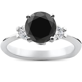 1 3/8ct Black Diamond Engagement Accent Anniversary Ring