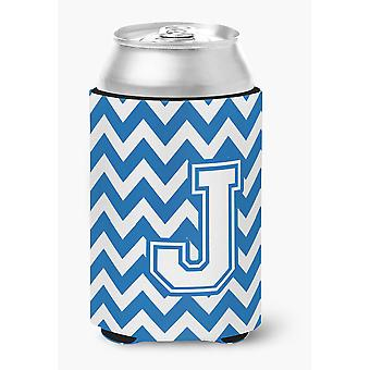 Letter J Chevron Blue and White Can or Bottle Hugger