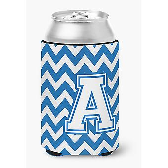 Letter A Chevron Blue and White Can or Bottle Hugger