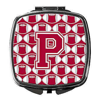 Letter P Football Crimson, grey and white Compact Mirror