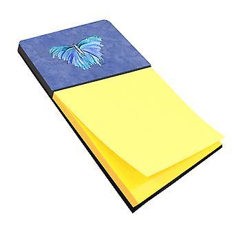 Butterfly on Slate Blue Refiillable Sticky Note Holder or Postit Note Dispenser