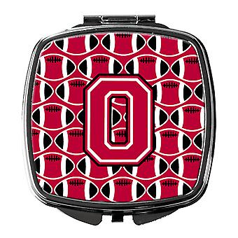 Letter O Football Crimson and White Compact Mirror