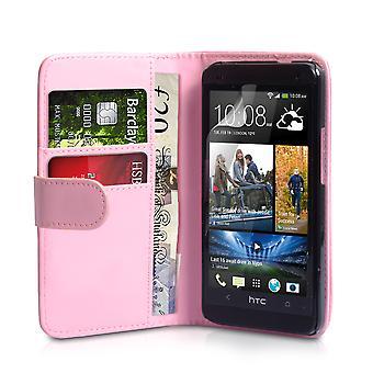 HTC en läder-effekt Wallet Case - Babyrosa