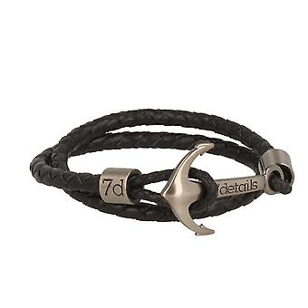 7details premium leather anchor black bracelet with anchor in silver hand work from Spain