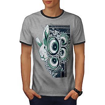 dd99ec252e3a63 Sonderangebot Tier Kaninchen Bass Männer Heather Grey   Heather dunkles  GreyRinger T-shirt