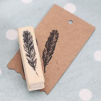East of India Feather Wooden Rubber Stamp - Craft Scrapbooking