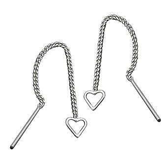 Earrings chain with heart silver 925